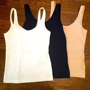 3 for $15 small camis white, blue and nude.